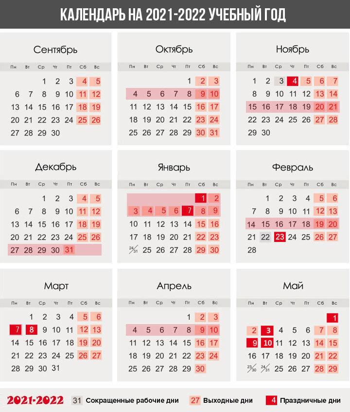 Календарь каникул для России на 2021-2022 учебный год