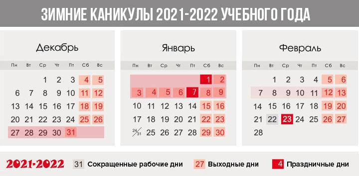 зимние каникулы 2021-2022