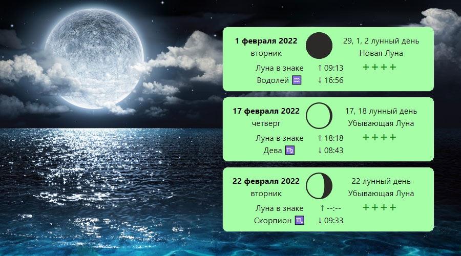 Февраль 2022 года: лунный календарь