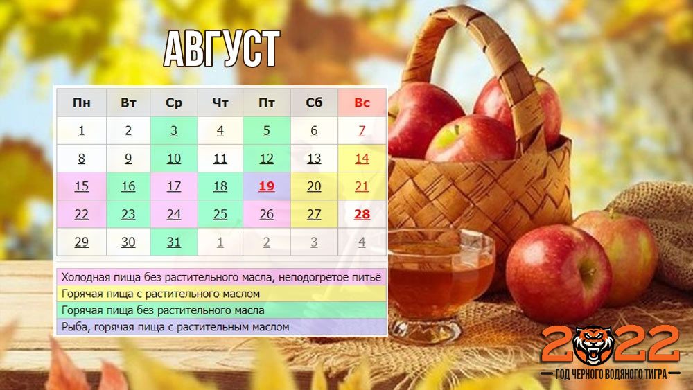 Православный календарь на август 2022 года