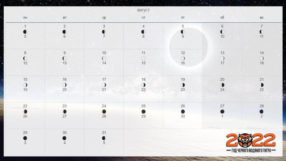 Лунный календарь на август 2022 года