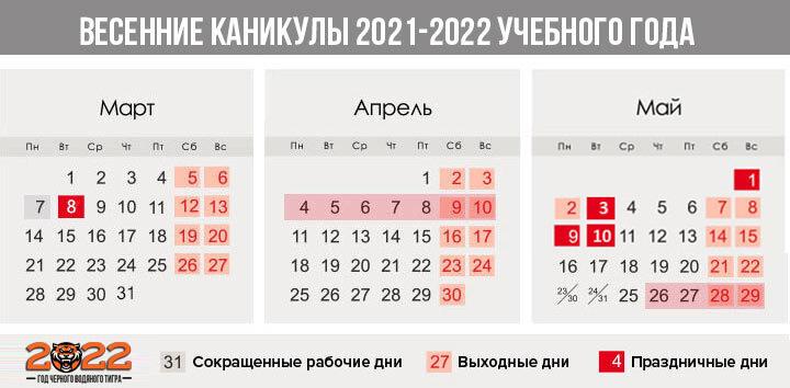 Весенние каникулы 2021-2022 учебного года