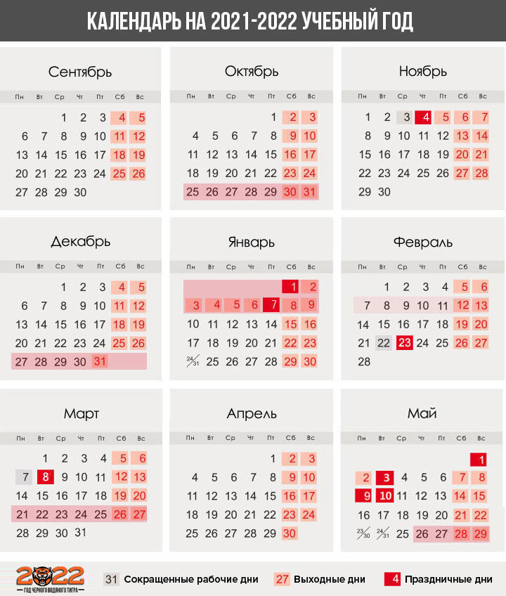 Календарь каникул 2021-2022 учебный год