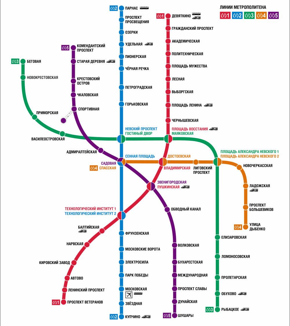 Карта метро Санкт-Петербурга в 2022 году