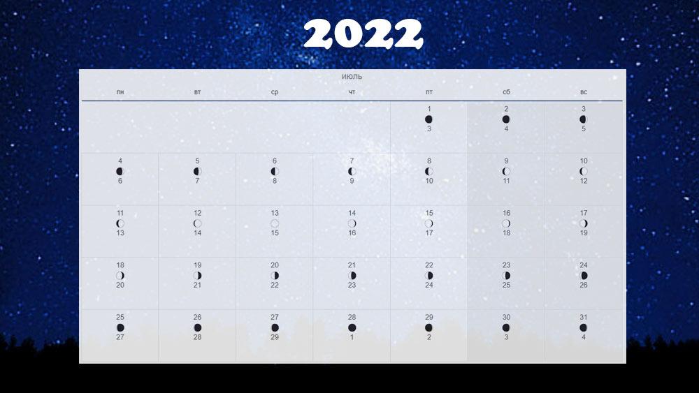 Лунный календарь на июль 2022 года в России