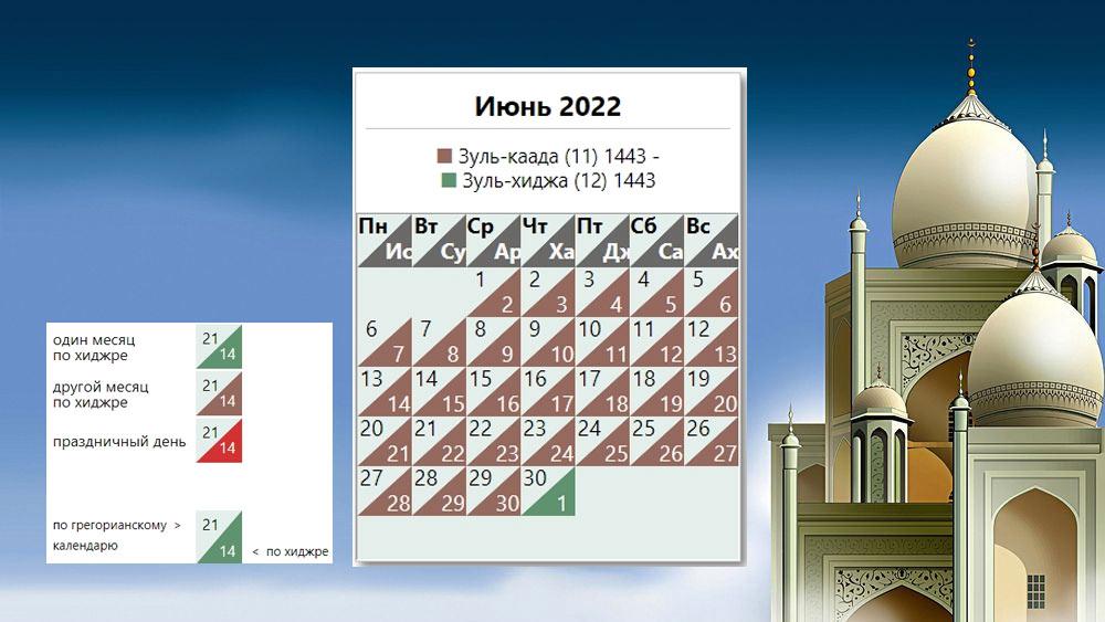 Мусульманский календарь на июнь 2022 года
