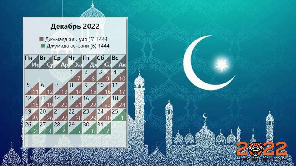 Мусульманский календарь на декабрь 2022 года