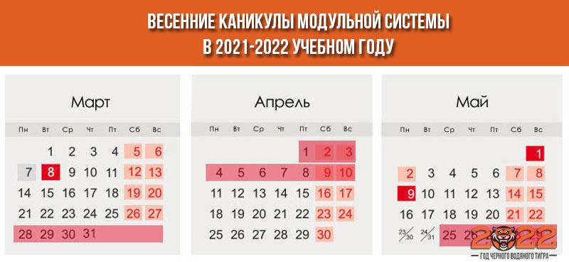 Весенние модульные каникулы на 2021-2022 год