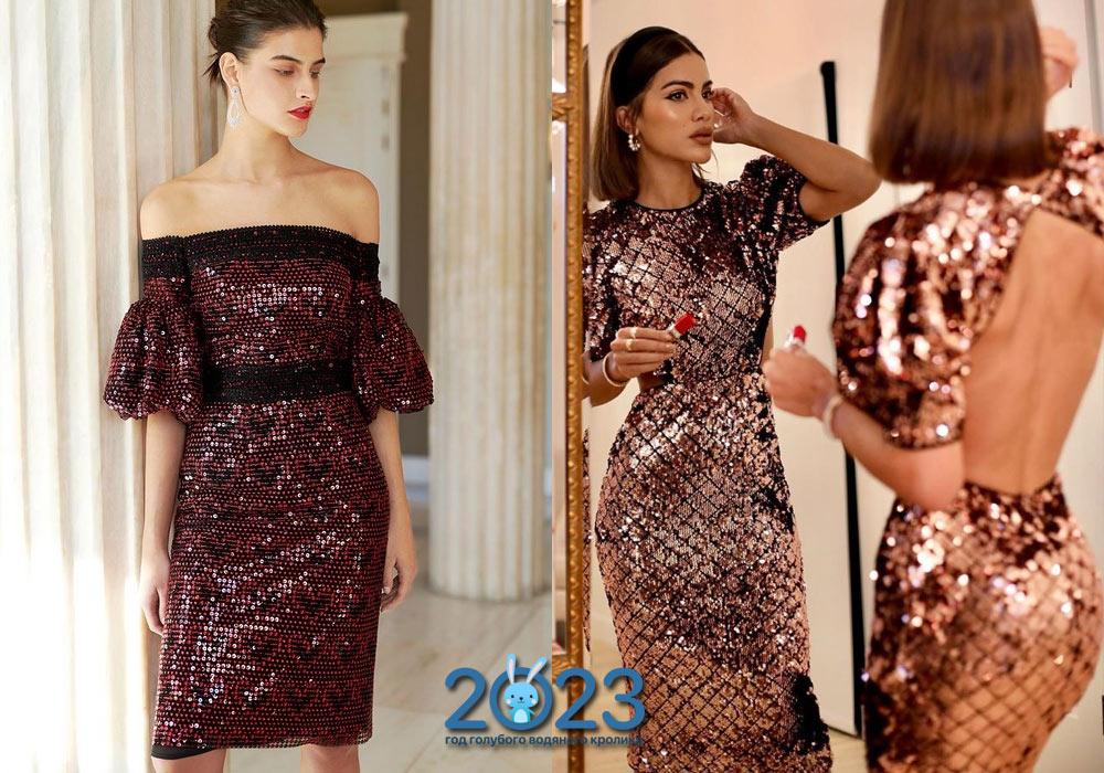 Модное блестящее платье на Новый Год 2022