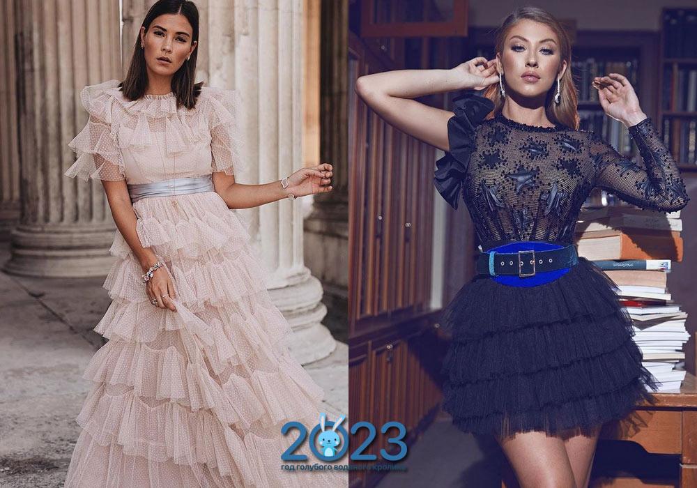 Платье на Новый Год 2022 с рюшами и воланами