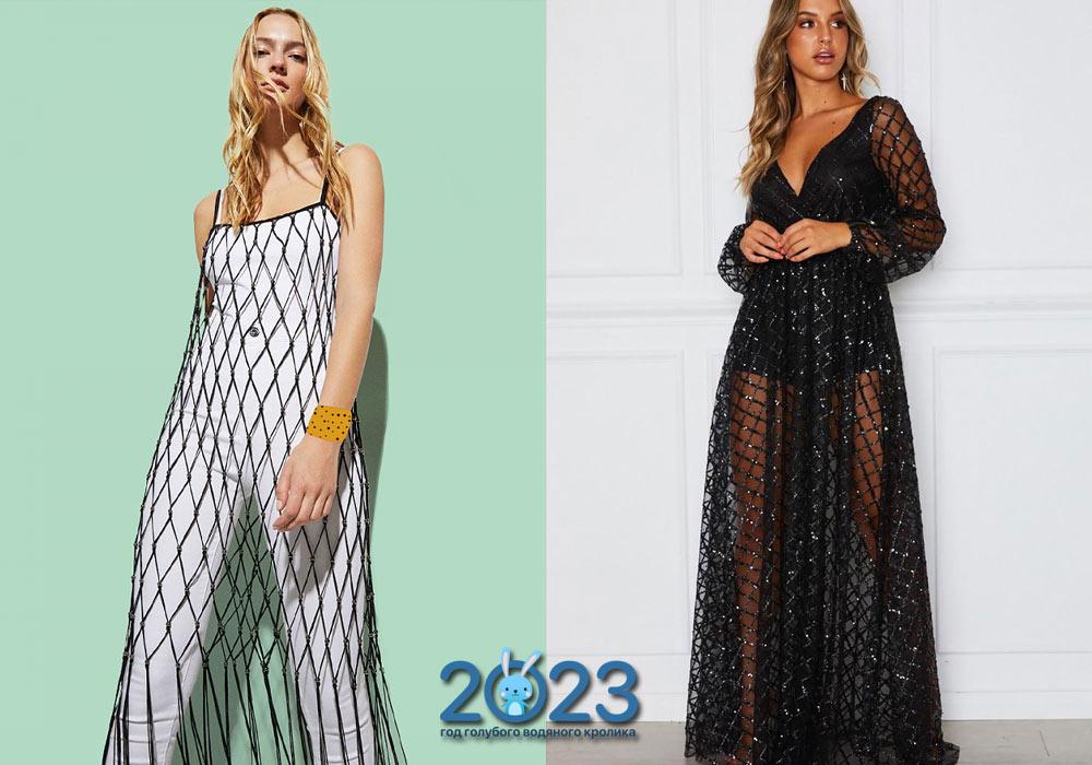 Платье-сетка на Новый Год 2022 с оборками
