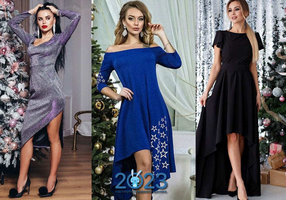 Новогоднее платье с асимметричным вырезом на 2022 год
