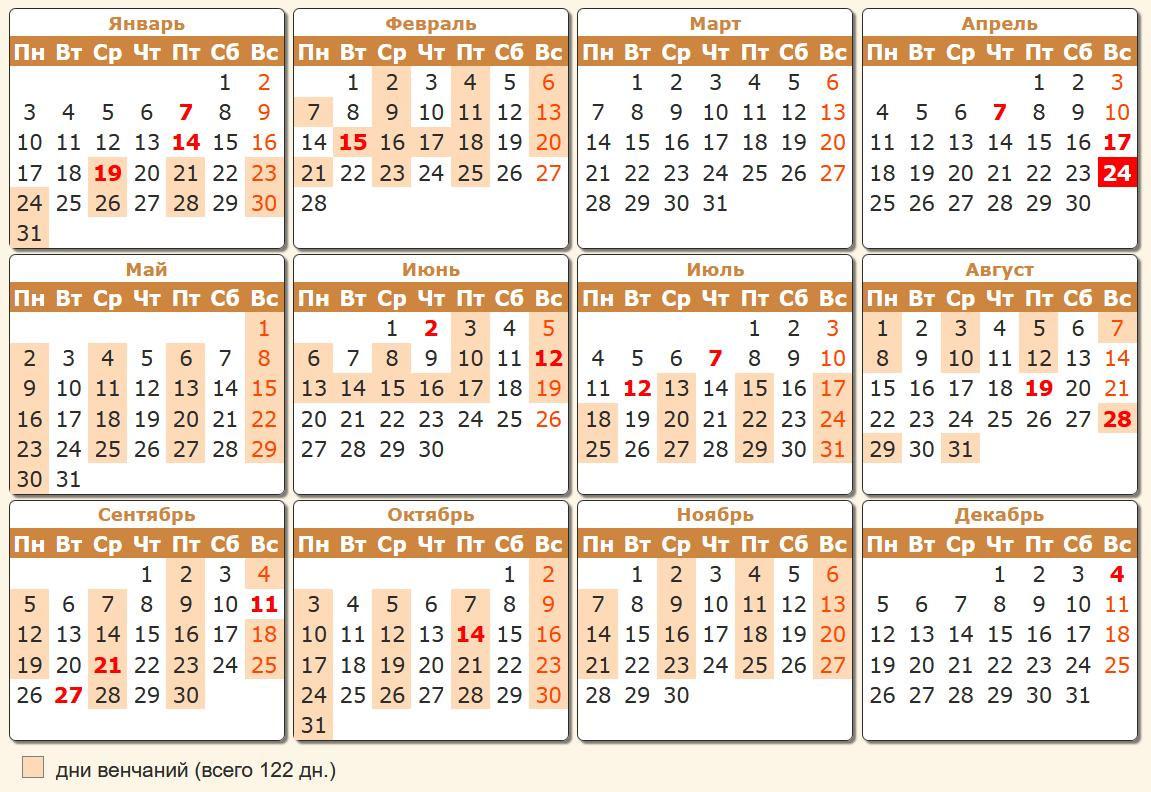 Календарь венчаний на 2022 год