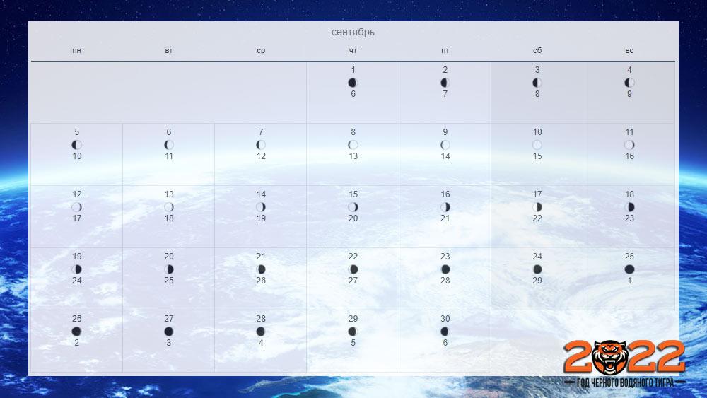 Лунный календарь на сентябрь 2022 года