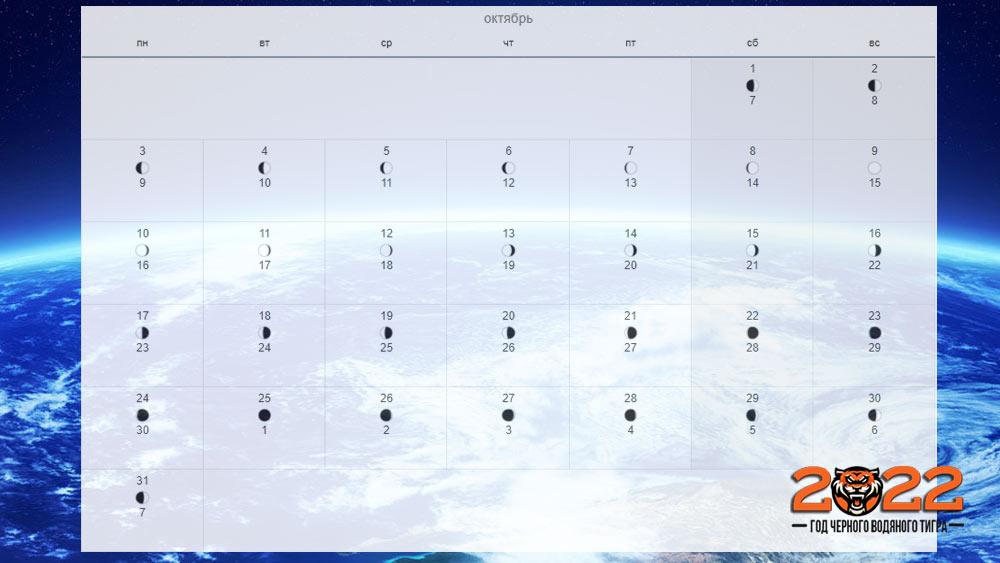 Лунный календарь на октябрь 2022 года