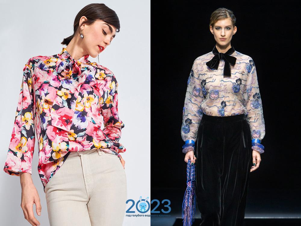 Модные блузы с бантами сезона осень-зима 2021-2022