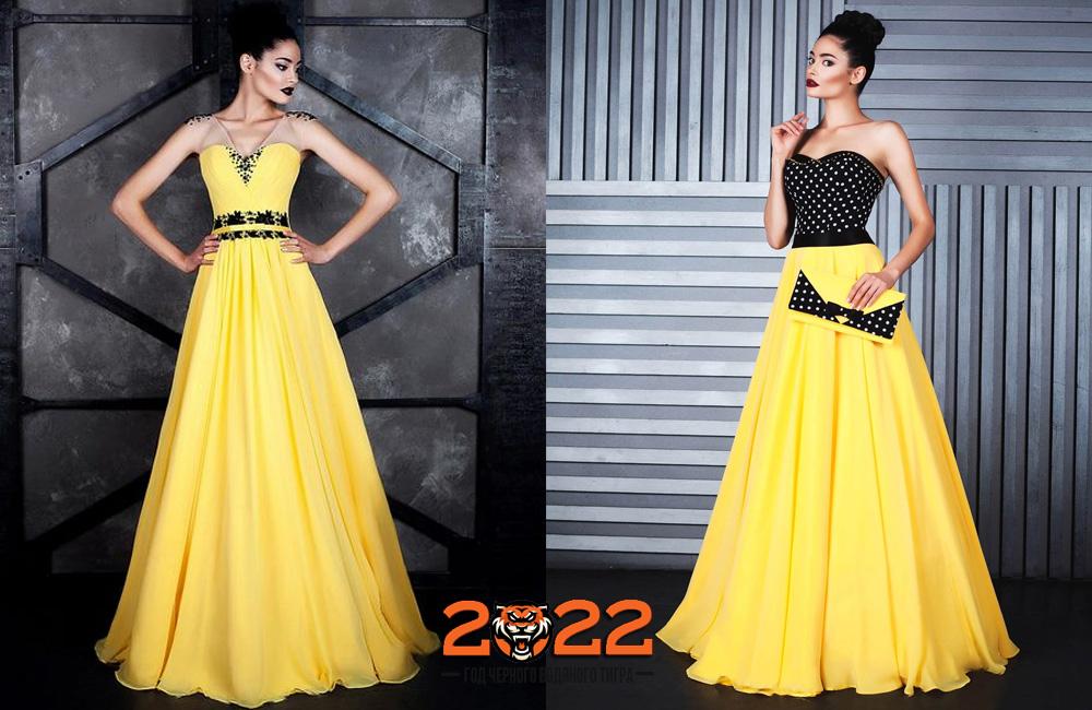 Желтое новогоднее платье на 2022 год