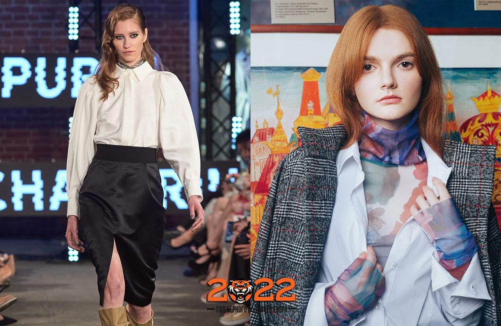 Белая блузка - базовый гардероб зимы 2021-2022