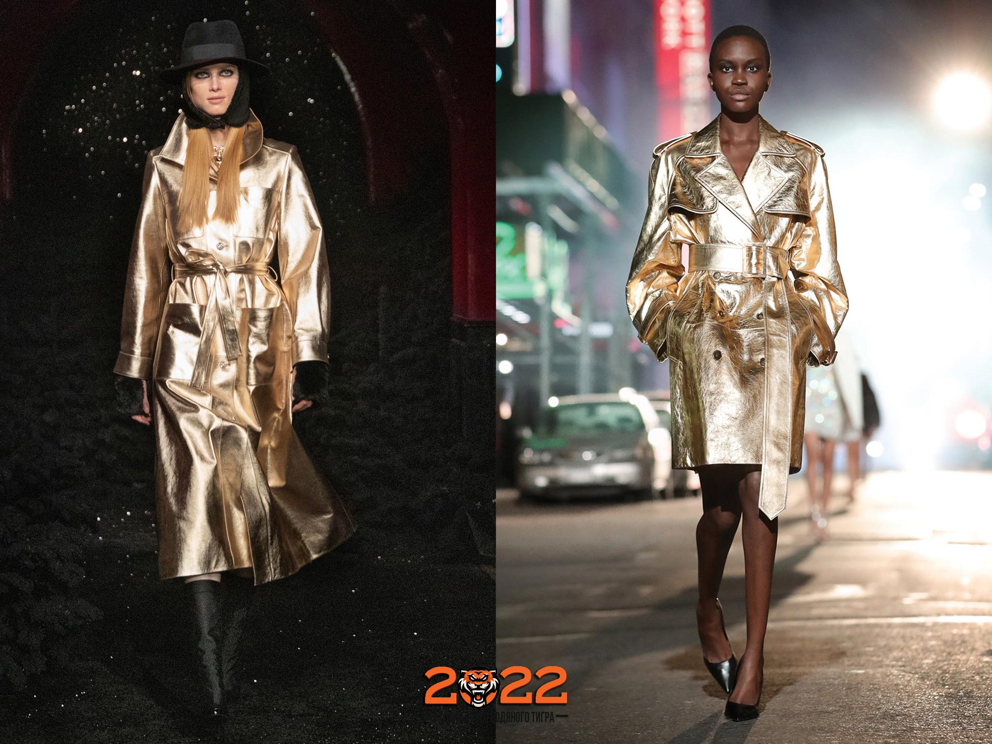 Модные золотые пальто на 2022 год