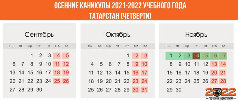 Осенние каникулы в 2021-2022 году для школьников в Татарстане (четверти)
