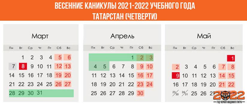 Весенние каникулы в 2021-2022 году для школьников в Татарстане (четверти)