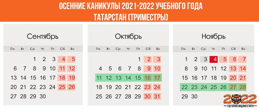 Осенние каникулы в 2021-2022 году для школьников в Татарстане (триместры)