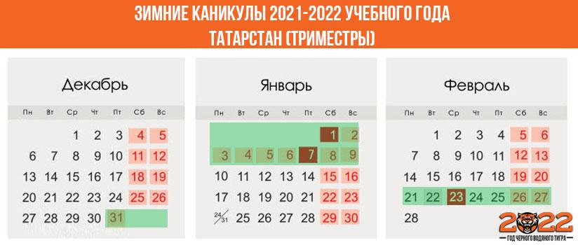 Зимние каникулы в 2021-2022 году для школьников в Татарстане (триместры)