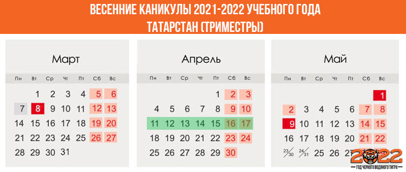 Весенние каникулы в 2021-2022 году для школьников в Татарстане (триместры)
