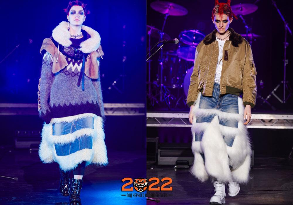Джинсовые юбки с мехом - осень-зима 2021-2022