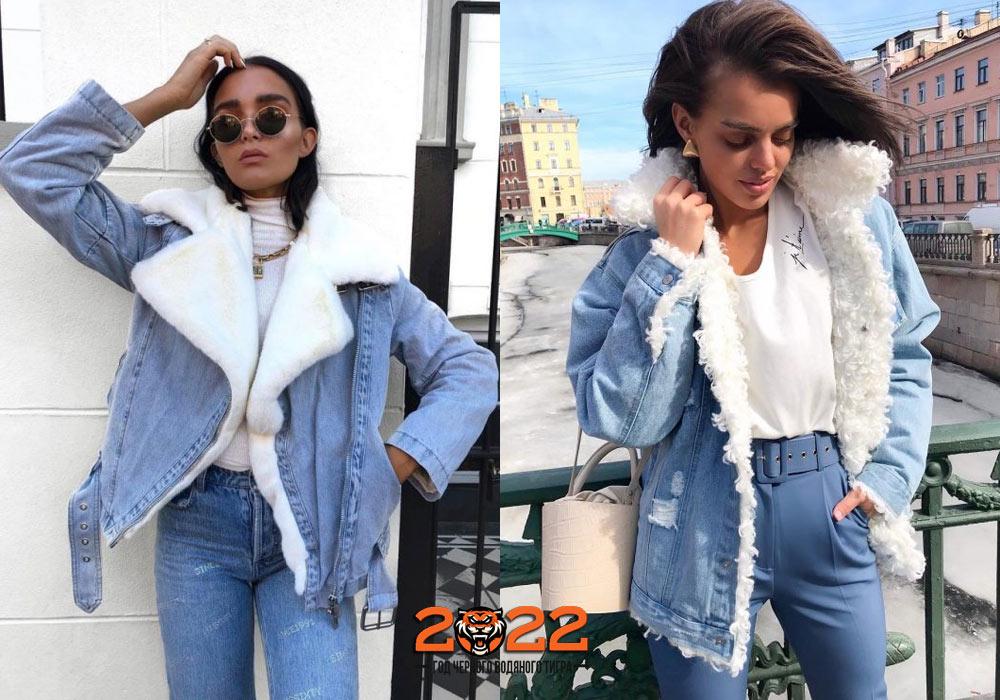 Зимняя джинсовая куртка с белым мехом осень-зима 2021-2022