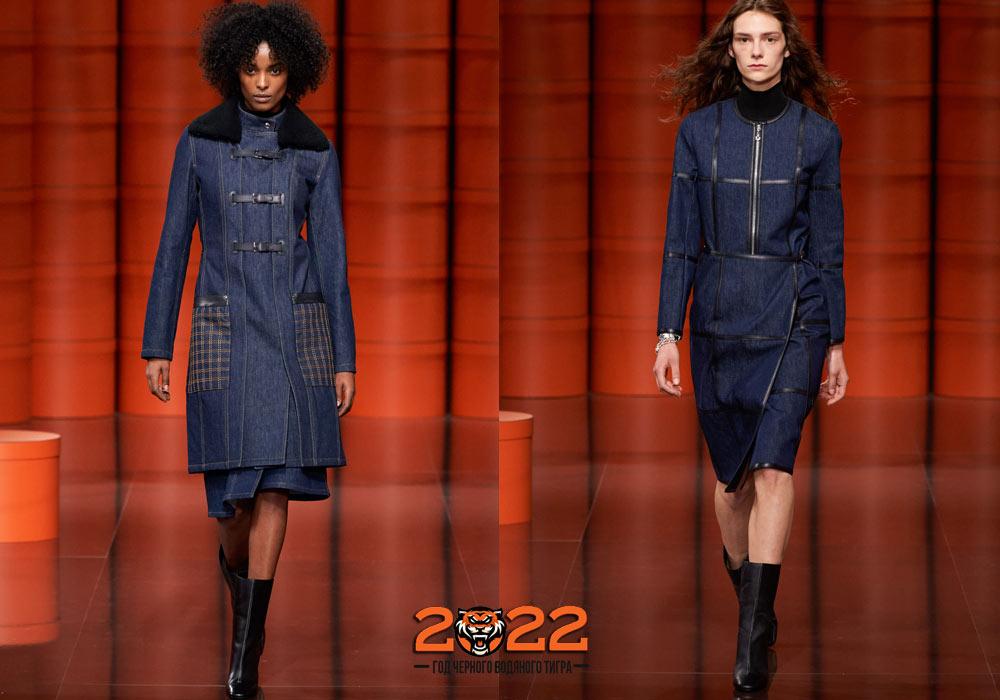 Джинсовое пальто осень-зима 2021-2022