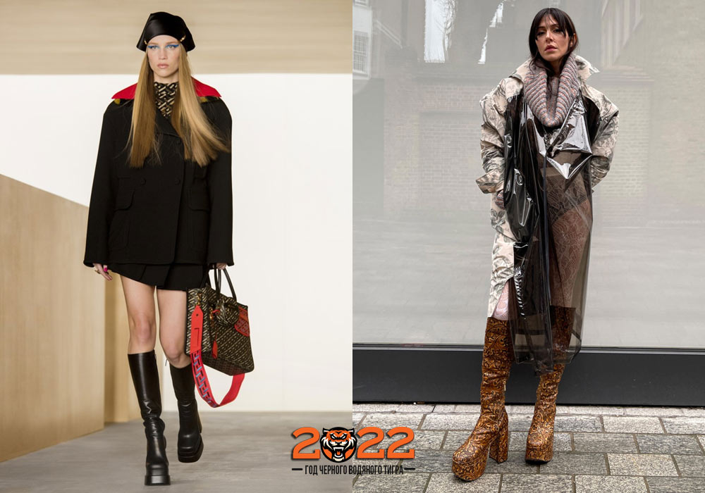 Модные сапоги зима 2021-2022 на платформе