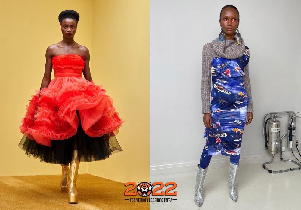 Модные сапоги цвета металлик на 2022 год