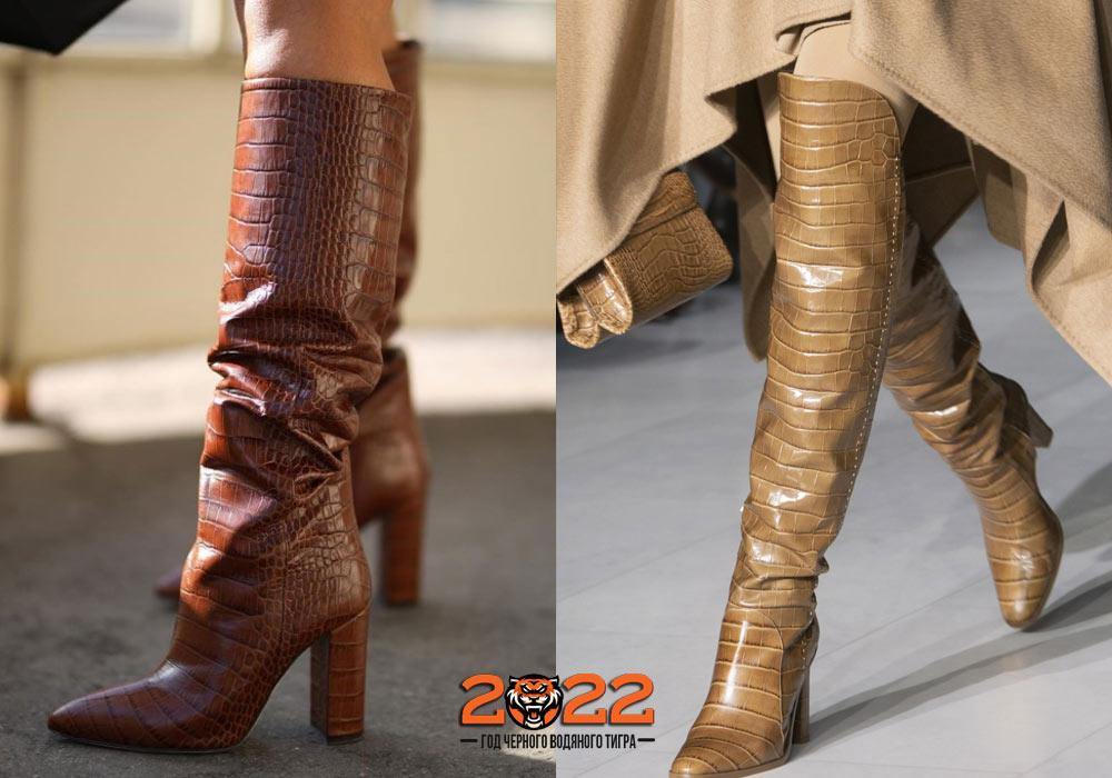 Модные сапоги 2022 под кожу рептилий