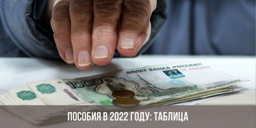 Пособия в 2022 году: таблица