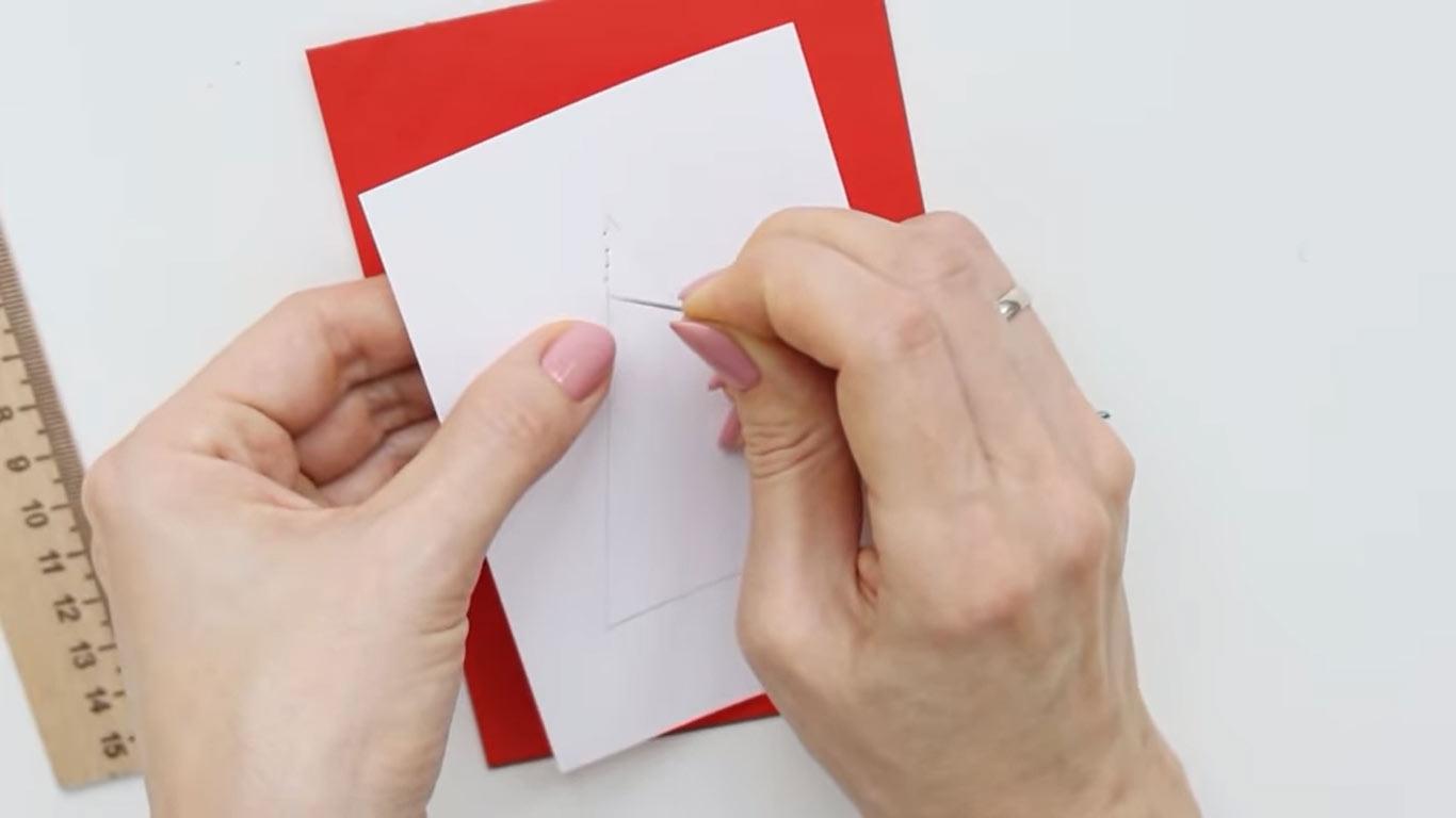 Нитяные открытки с Новым 2022 годом своими руками шаг 2