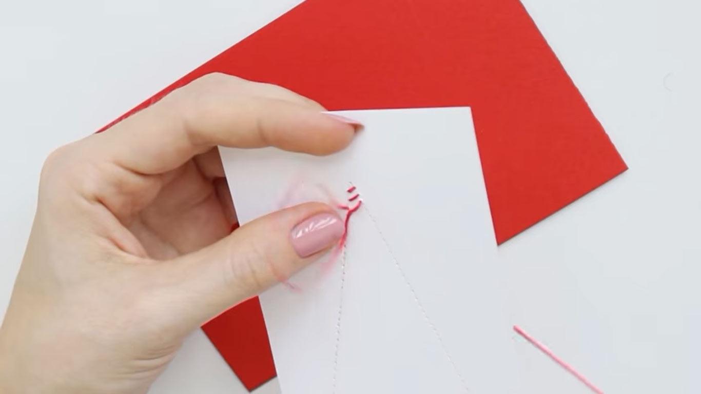 Нитяные открытки с Новым 2022 годом своими руками шаг 3