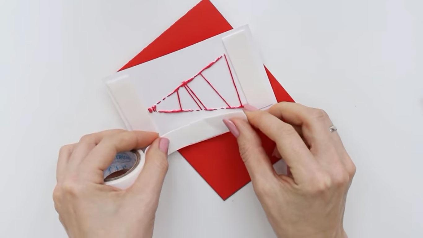 Нитяные открытки с Новым 2022 годом своими руками шаг 4