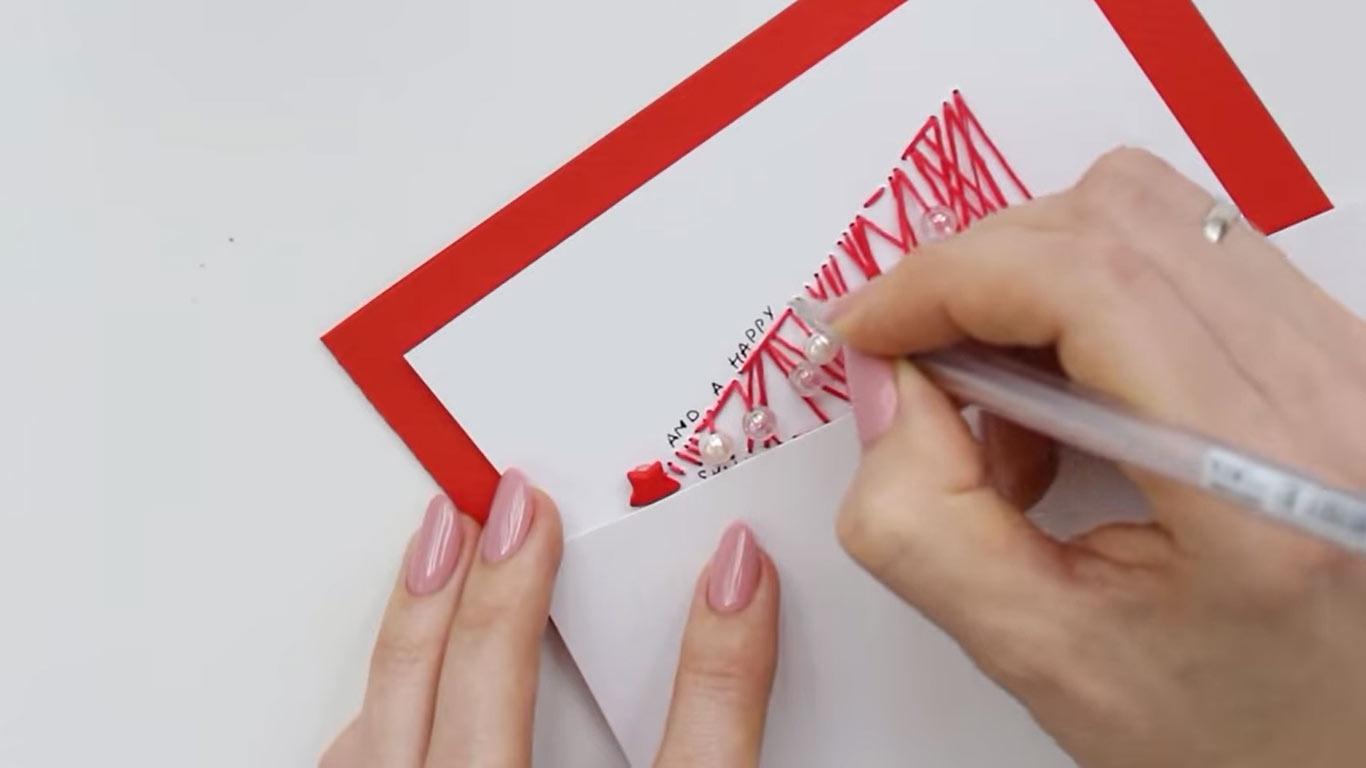 Нитяные открытки с Новым 2022 годом своими руками шаг 5