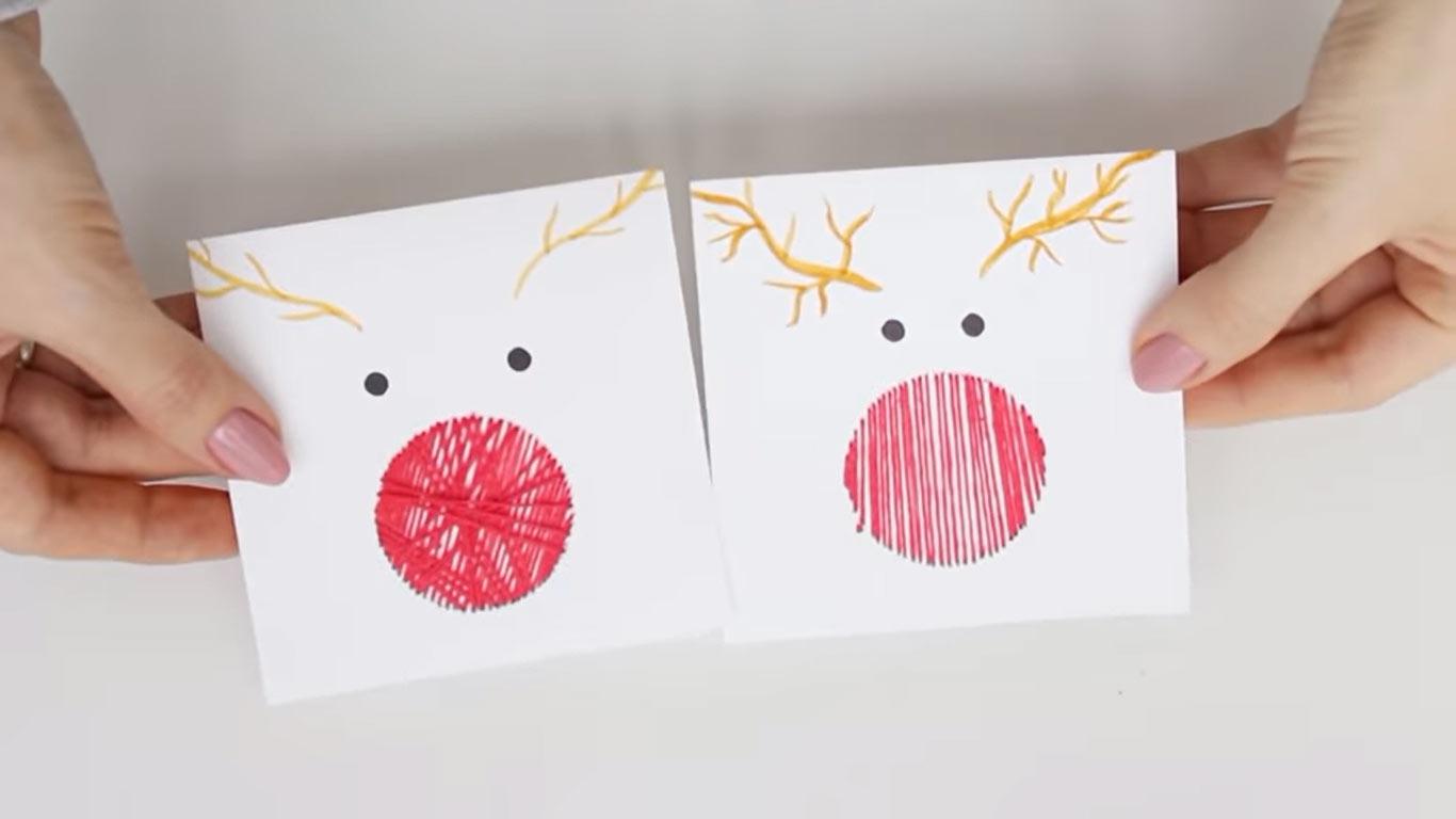 Нитяные открытки с Новым 2022 годом своими руками - олени